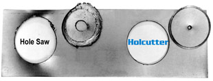 Hougen Holcutters cut hole faster and clean than hole saws