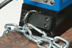 D-ring makes attaching a safety chain quick and easy